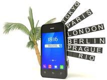 3d smartphone lotniska deska, biały tło, 3d wizerunek Zdjęcie Stock