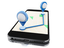 3d Smartphone with a map, blue pointer and planned route on scre Royalty Free Stock Image