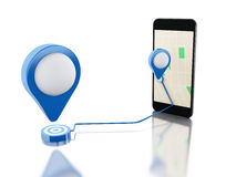 3d Smartphone with a map, blue pointer and planned route on scre Royalty Free Stock Photography