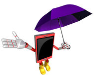 3D Smartphone Mascot is an umbrella in taking shelter from the r Royalty Free Stock Photo