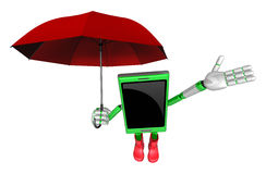 3D Smartphone Mascot is an umbrella in taking shelter from the r Stock Image