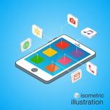 3D Smartphone med mobila applikationsymboler i den isometriska projektionen Modern infographic mall Royaltyfri Fotografi