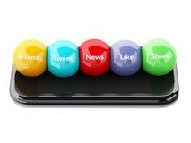 3d smartphone met sociale media bellen Stock Foto's