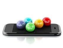 3d smartphone met sociale media bellen Stock Fotografie