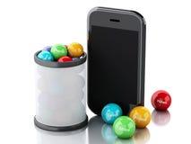 3d smartphone met sociale media bellen Stock Foto