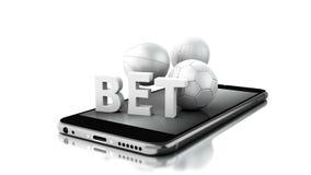 3d Smartphone mit Sportbällen und Wette Live vektor abbildung
