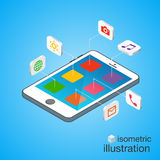 3D Smartphone with mobile application icons in the isometric projection. Modern infographic template. Royalty Free Stock Photography