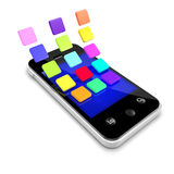 3d Smartphone with multi coloured icons Royalty Free Stock Photos