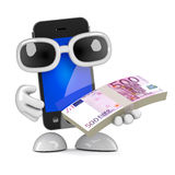 3d Smartphone pays with Euro currency Stock Images