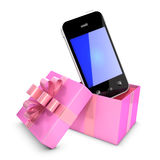 3d Smartphone in pink gift box Royalty Free Stock Image