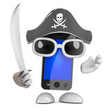 3d Smartphone pirate Royalty Free Stock Photo