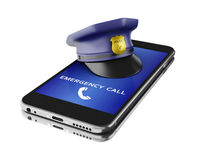 3d Smartphone with a police hat. Mobile security services concep. 3d Illustration. Smartphone with a police hat. Mobile security services concept. Isolated white royalty free illustration