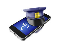 3d Smartphone with a police hat. Mobile security services concep. 3d Illustration. Smartphone with a police hat. Mobile security services concept. Isolated white stock illustration