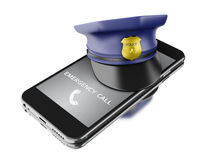 3d Smartphone with a police hat. Mobile security services concep. 3d Illustration. Smartphone with a police hat. Mobile security services concept. white stock illustration