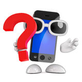 3d Smartphone question mark Stock Photo