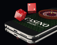 3d Smartphone with roulette and dice. Casino. 3d illustration. Smartphone with roulette and dice. Online casino concept Stock Photo