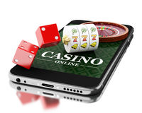 3d Smartphone with roulette and dice. Online casino concept. 3d Illustration. Smartphone with roulette and dice. Online casino concept.  white background Royalty Free Stock Photos
