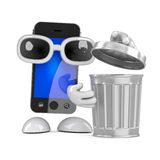 3d Smartphone with a rubbish bin Stock Image