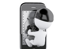 3d Smartphone with safe door. Mobile security concept. Royalty Free Stock Photography