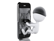 3d Smartphone with safe door. Mobile security concept. Stock Photos