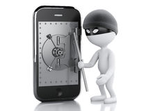 3d Smartphone with safe door. Mobile security concept. Stock Photography