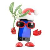3d Smartphone Santa ha vischio Immagini Stock