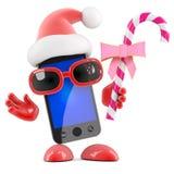 3d Smartphone Santa a la sucrerie Photographie stock libre de droits