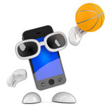 3d Smartphone shoots the basketball. 3d render of a smartphone shooting a basketball Royalty Free Stock Images