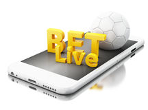 3d Smartphone with soccer ball and bet live. Betting concept. 3d renderer image. Smartphone with soccer ball and bet live. Betting concept. Isolated white Royalty Free Stock Image