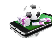 3d Smartphone with soccer ball and money. 3d renderer image. Smartphone with soccer ball and money. Betting concept. Isolated white background Royalty Free Stock Photography