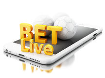3d Smartphone with sport balls and bet live. Betting concept. Stock Photos