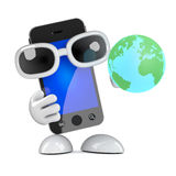 3d Smartphone studiert die Erde Lizenzfreie Stockbilder