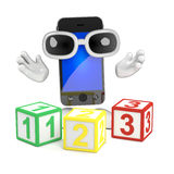 3d Smartphone teaches math Stock Photo
