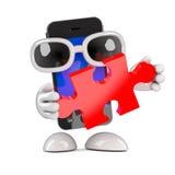 3d Smartphone tient un morceau de puzzle denteux Images libres de droits