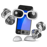 3d Smartphone work out Royalty Free Stock Photo