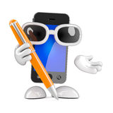 3d Smartphone writes with a pen Royalty Free Stock Photo