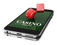 3d Smartphone z dices Online kasynowy pojęcie Obraz Stock