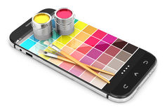 3d smartphoneconcept met kleurensteekproeven Royalty-vrije Stock Afbeeldingen