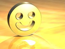 3D Smile Face Gold Sign. Over yellow background Royalty Free Stock Photos
