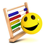 3d Smiley abacus. 3d render of a smiley with an abacus Stock Image