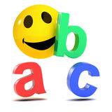 3d Smiley alphabet. 3d render of a smiley with the letters A, B, and C Stock Photography
