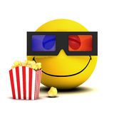 3d Smiley cinema goer Royalty Free Stock Images