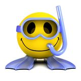 3d Smiley diver wearing snorkel, flippers and goggles. 3d render of a smiley wearing goggles, a snorkel and flippers royalty free illustration