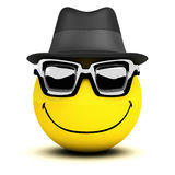 3d Smiley dude. 3d render of a smiley wearing a trilby and sunglasses stock illustration