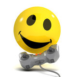 3d Smiley gamer. 3d render of a smiley playing video games vector illustration