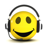 3d Smiley helpdesk. 3d render of a smiley wearing a telephone headset stock illustration