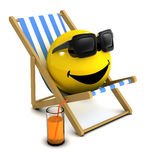 3d Smiley holiday. 3d render of a smiley on a deck chair royalty free illustration