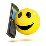 3d Smiley mobile. 3d render of a smiley chatting on a mobile phone stock illustration