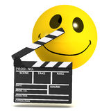 3d Smiley movie maker. 3d render of a smiley with a clapperboard vector illustration
