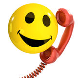 3d Smiley phone. 3d render of a smiley on the phone royalty free illustration